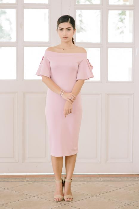 English Rose Strapless Vintage Short Bridesmaid Dress Chiffon And Lace